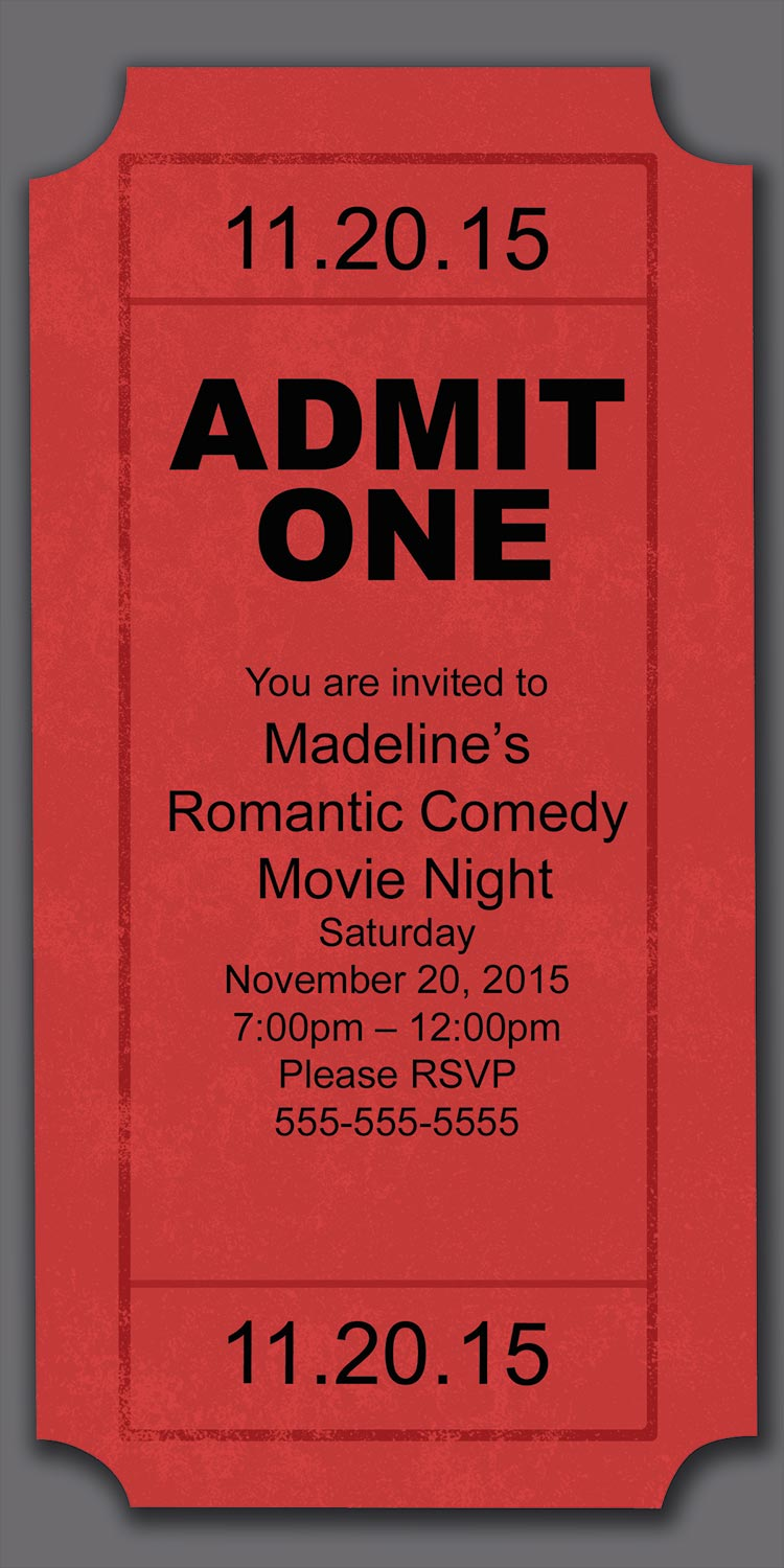 Movie Ticket Invitation Template Ticket Movie Ticket Invitation Template  Free Printable Movie Ticket Invitations Free Printable Movie Ticket  Invitations  Free Printable Movie Ticket Invitations